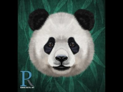 Panda realistic illustration animal portrait wall art photoshop painting art print on demand t shirt print digital panda