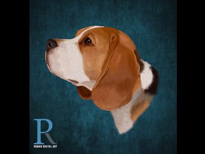Beagle On Dribbble print photoshop art high detail portrait wall decor t shirt print print on demand painting digital illustration beagle
