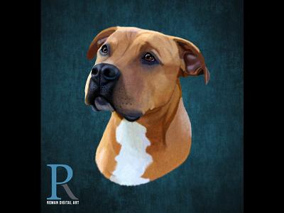 Pit Bull Terrier High Detailed Illustration print art high detail photoshop wall art t shirt print print on demand illustration digital painting dog pit bull