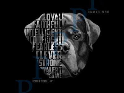 Rottweiler t shirt design, poster wall art animal illustration high detail photoshop poster dog illustration print t shirt print on demand painting rottweiler