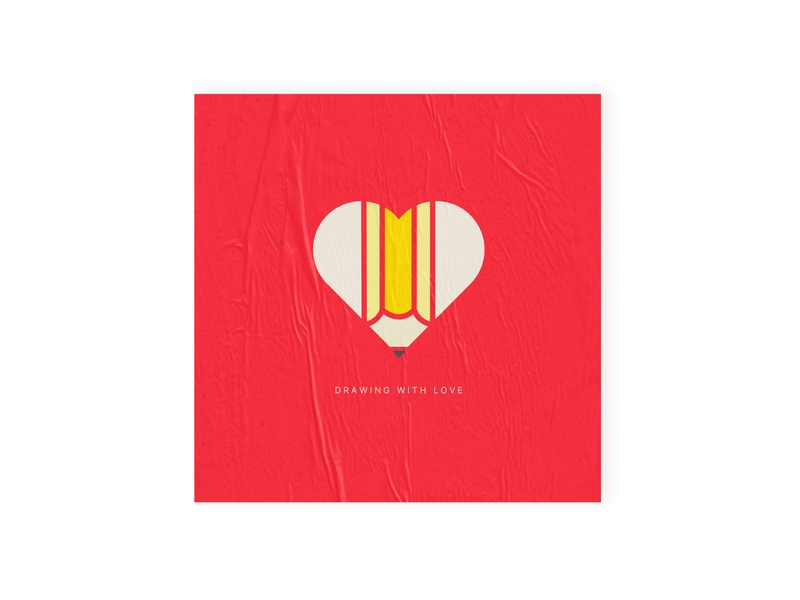 Drawing with Love simple design simple shapes branding concept drawing concept visual design art direction exploration branding design logo pen love heart minimalist illustration dribbble dribbbleweeklywarmup brand design branding