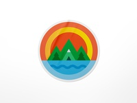 Sunset on the mountain geometric visual design sticker design sticker mule fresh summer dribbble simple form exploration clean design gradients brand identity illustration colors logo branding sunset playoff stickers stickermule