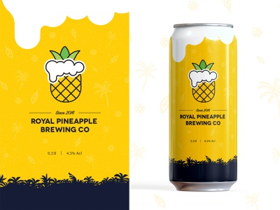 Royal Pineapple Brewing Co Branding Project logo design graphic design exploration beer can fresh design fresh colors branding concept brand design hawaii beer label design label branding design brand identity branding and identity branding logo pineapple royal