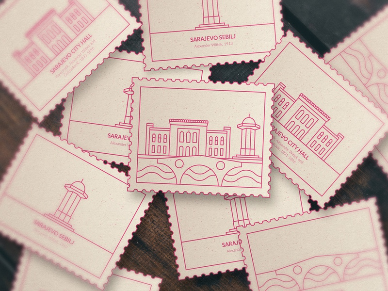 Sarajevo Stickers, Concept artdirection artwork brand design dribbble drawing illustration work brand and identity hometown branding concept objects architecture line clean branding design brand identity branding sightseeing sarajevo stickers