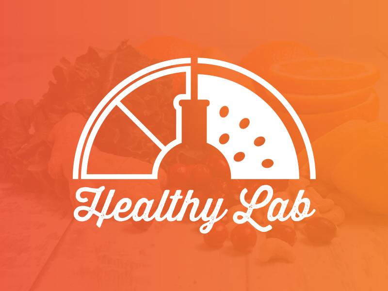 Healthy Lab Juice Smoothie Bar Logo orange fruit ilustration bar smoothie juice lab healthy logotype logo branding brand
