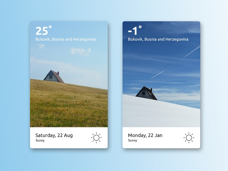 Weather Widget photography minimal design uidesign card winter summer widget weather