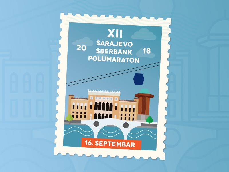 Sarajevo Sberbank Hlafmarathon 2018 Visual medal print running run bosniaandherzegovina icon stamp history architecture postcard halfmarathon sarajevo