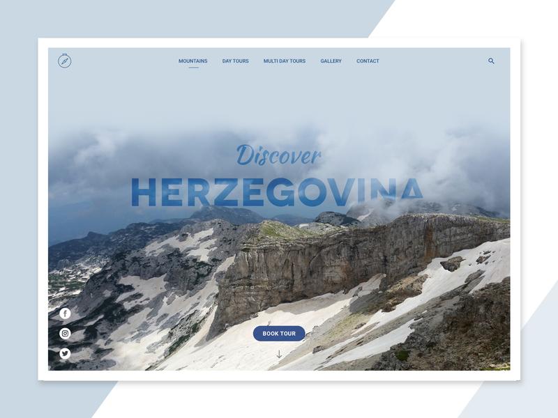 Discover Herzegovina typography visit photography tourism tour hike mountains cvrsnica bosniaandherzegovina explore tourist userinterface ui screen concept design web herzegovina discover