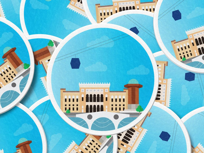 Greetings from Sarajevo! discover explore skyline design logo symbols gradient colors vector ilustration icon sightseeing sights architecture coasters stickers branding brand sarajevo
