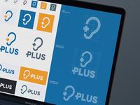 Plus Logotype Final Solution positive symbol center hearing ear web print branding brand geometry construction typogaphy colors ilustration vertical horizontal icon logotype logo design