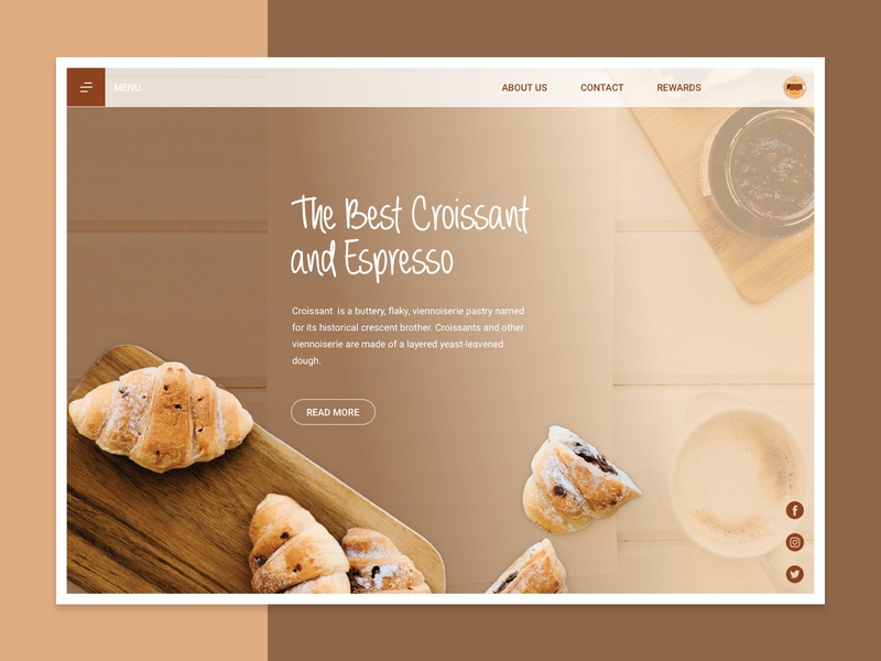 Boutique Mercato Landing Page website interface design uidesign designer screen desktop typogaphy color minimal clean visual croissant coffee ux ui userinterface webdesign web interface design