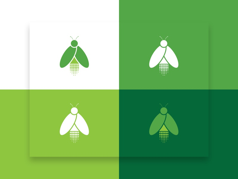 Lumitic Logo Design screen bracelet pixel glow green animal shape form concept logotype icon visual web print colors firefly design brand branding logo