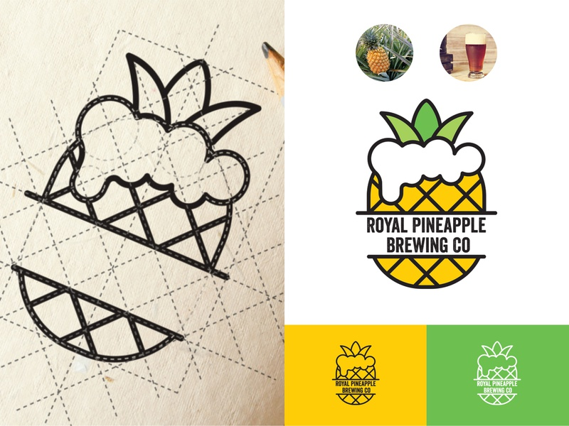 Royal Pineapple  Brewing Co logo design logo a day minimalism typogaphy inspiration symbol illustration colors design branding hawaii brand craft pineapple beer idea construction logotype logo