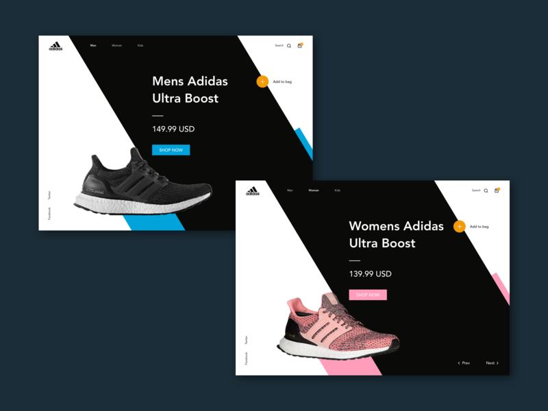 Adidas Ultra Boost UI Concept black pink visual ecomerce web interface colors runners minimal dynamic woman man running shoes concept userinterface ux ui ultraboost adidas
