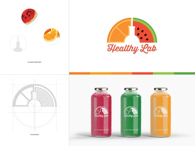 Healthy Lab Final Brand Concept logo a day icon typography fresh colors illustration print colors construction sarajevo bar smoothie juice brand design logotype logo fruit exploration concept branding brand