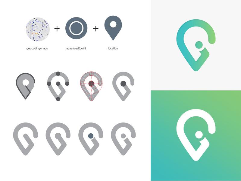 Geocoding Icon Explortation concept design branding typography pin location form exploring exploration advance dot gradient sketch draw app android ios process icons icon