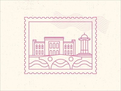 Stamp Stickers from My Hometown! welcome draw design illustration minimal outline style challenge weekly warm up exploration objects visual graphic dribbble color branding city brand stamp sarajevo myhometown dribbble dribbbleweeklywarmup