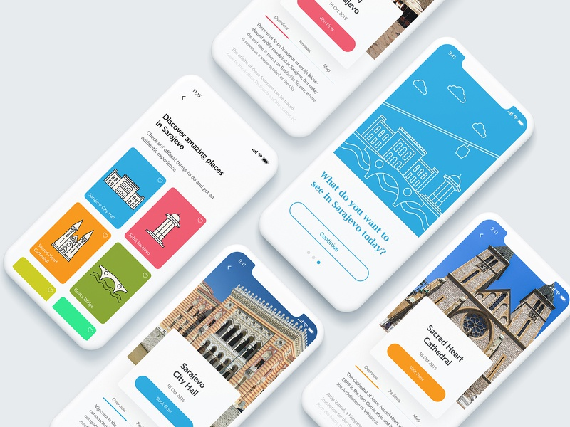 What do you want to see in Sarajevo Today? concept design playoff adobe xd user interface design screen onboarding colors illustrations icons iphonex ios touristic exploration user experience userinterface ux ui app sarajevo