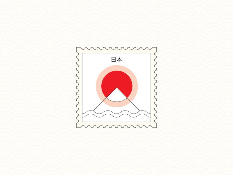Minimalistic Japan Stamp traveling mountain sea experiment illustration fuji line travel layout minimalist sunrise graphic warm up exploration icon outline stamp minimalistic minimal japan