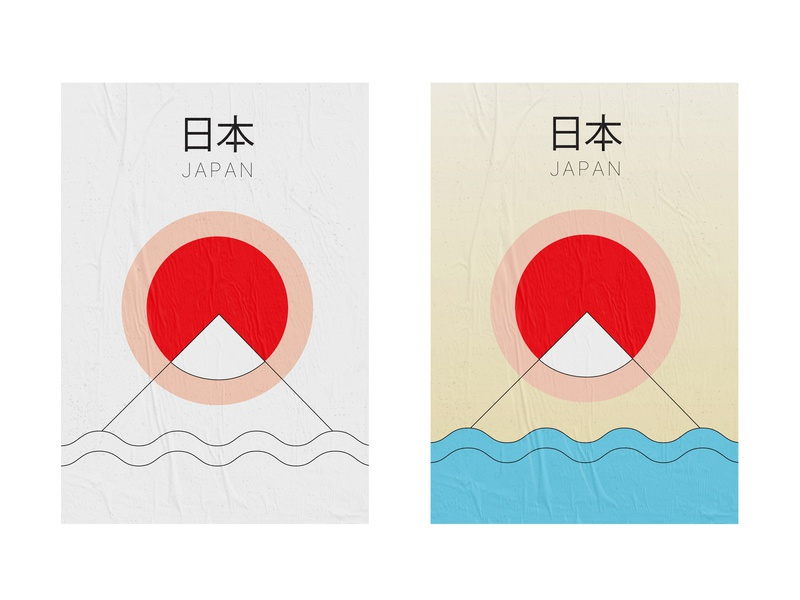 Japan minimalistic posters concept mountain graphic design graphic exploration sunrise sea typogaphy illustration print colors line vector dribbbleweeklywarmup japanese culture layout minimalistic minimal poster japan