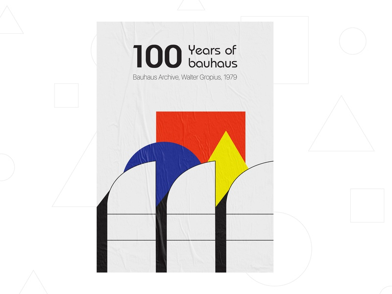 100 Years of Bauhaus - Poster and Stamp print design layout exploration exploration lines retro minimalistic poster layout minimalism minimal illustrations symbols history print poster stamp design berlin weekly warm-up bauhaus100