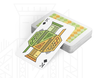 Geometric Playing Cards vector prints concept drawing warmup personal project shoot design design card exploration print layout shapes geometic colors king illustration playing cards dribbbleweeklywarmup dribbble