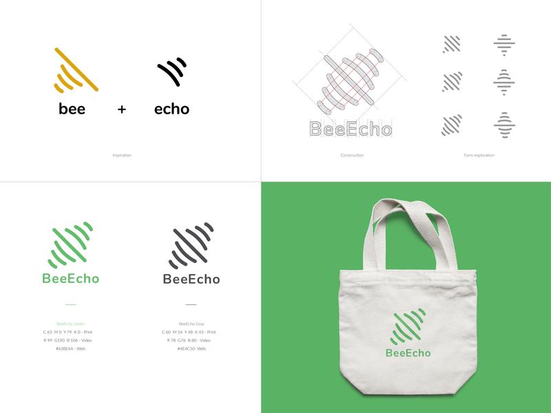 BeeEcho Logo Design lines typogaphy ecologic app visual symbol modern branding identity iconography icon graphic design design concept clean exploration logo design logo echo bee