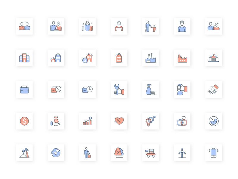 Icon set symbol mark color scheme design user experience user interface icons set digital product ios visual design colors exploration minimal icon design branding product design iconography icon icon set