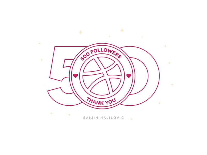 500 Followers, Thank You Everyone sticker concept illustration thankful minimalism line outline mark symbol emblem logo typography exploration art direction branding visual design design dribbble followers 500
