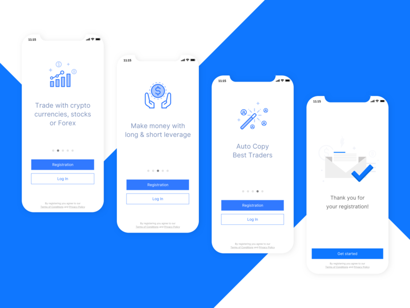 Onboarding screens for trading app