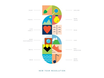 2020 New Year Resolutions new year resolutions colorful concept system puzzle branding design art direction visual design outline colors illustration exploration typography type warmup dribbbleweeklywarmup resolutions newyear 2020
