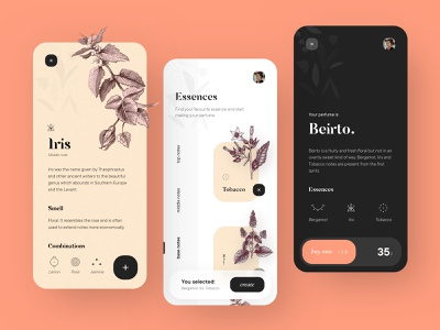 Grenouille : create your perfume detail order buy slide swipe plant draw floral organic aromatic perfume essence create dribbble concept app illustration shot ui design