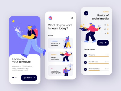 Online learning app online onboarding trend mobile study ios education e-learning learn course list card dribbble app illustration concept creative shot ui design