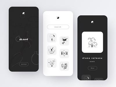 Abstract art app buy ecommerce white black search artist shop list abstract conceptual art minimal illustration dribbble app concept creative shot ui design