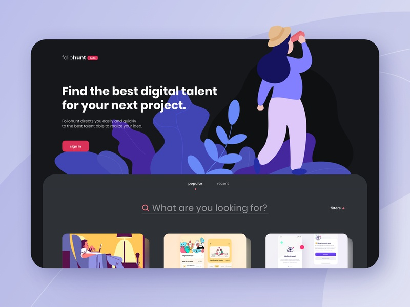 Foliohunt web : find clients and talents search shot ui mobile project portfolio platform plants website web illustration hunt home freelance explore dribbble design creative concept agency