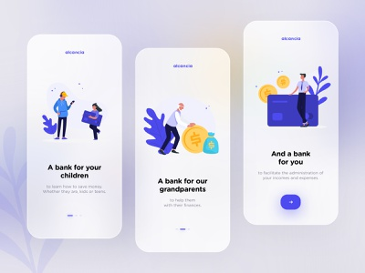 Alcancía : a bank for all plant credit card coin onboarding blur blue glass banking bank money app illustration dribbble creative shot ui design