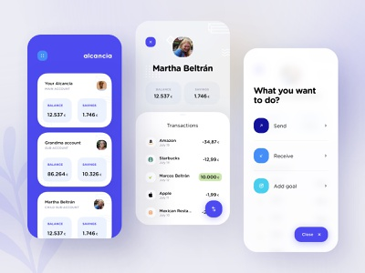 Alcancía : homepage send transfer savings balance account goal transaction ui dribbble best shot money texture pattern glass dribbble app design blur blue banking bank app