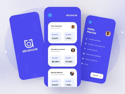 Alcancía : homepage and menu balance savings piggy goal expenses account logo pattern cards menu bank pig home app illustration dribbble creative shot ui design