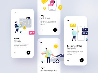 Multi-mobility app 🚕 move pay credit coupon car park map taxi bus transport onboarding money concept app illustration dribbble creative shot ui design