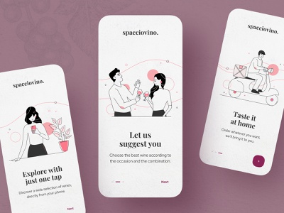 Spacciovino 🍷   Onboarding grapes drawing line art outlined bubbles scooter explore drink delivery wine lines outline onboarding app illustration dribbble creative shot ui design