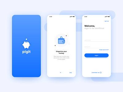 Wallet app concept : login flow goals money pig onboarding login logo illustration creative shot ui design app wallet concept