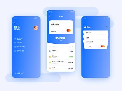 Wallet app concept : wallet and menu flow wallet ui shot money menu home goals design credit creative concept card bank app