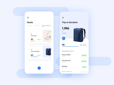 Wallet app concept: goals