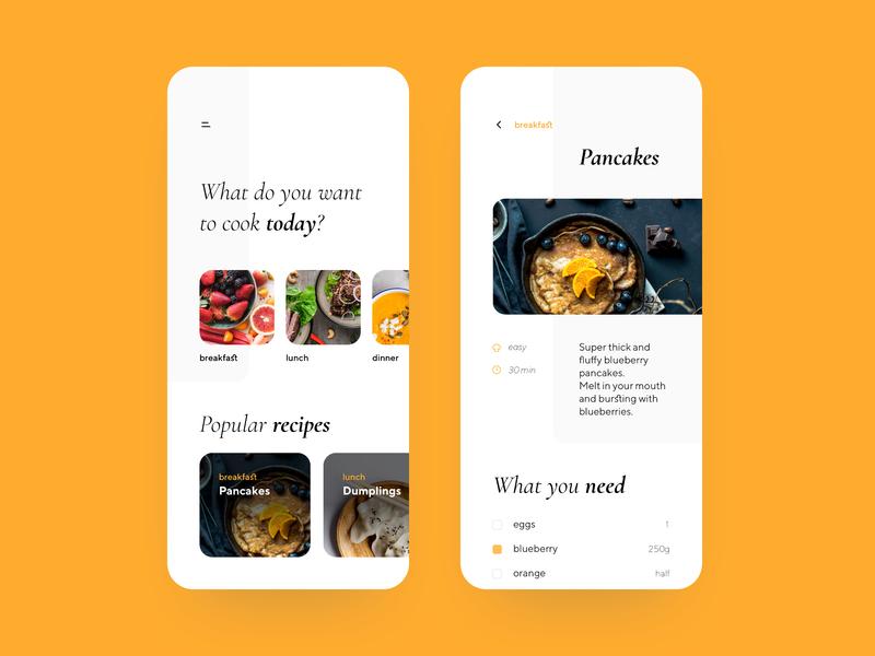 Orange food app dashboard home orange kitchen recipes food dribbble concept app illustration shot creative ui design