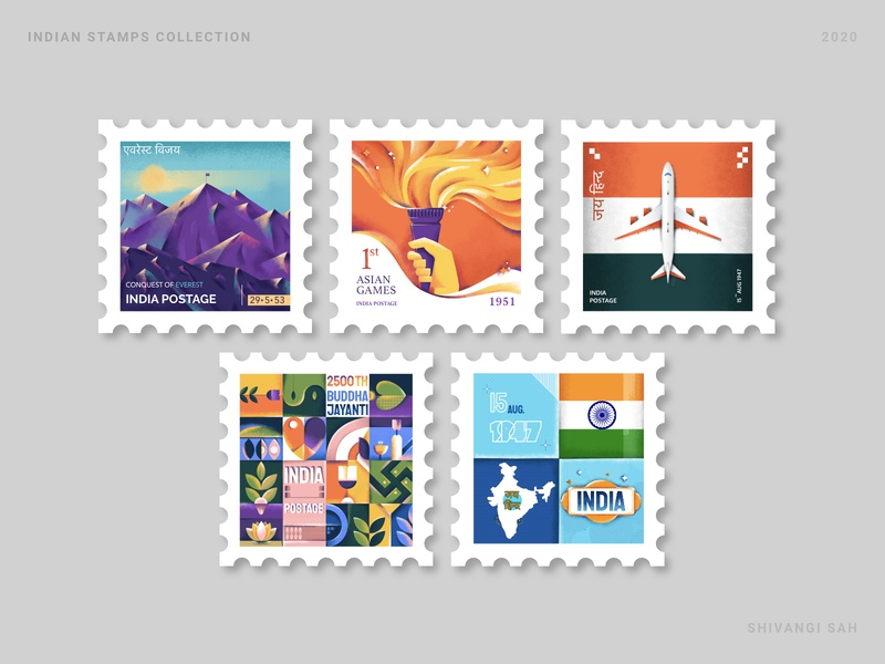 Indian Stamp Collection illustration art vector illustration india stamp design stamps vector art mobile ui graphic vector graphics adobe uidesign design ux ui illustration