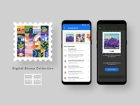Stamp Collection Flow | High Fidelity Screens digital painting digital art vector art indian illustrator stamp design stamps illustraion uiux uxdesign application mobile ui graphic vector graphics adobe uidesign design ux illustration ui