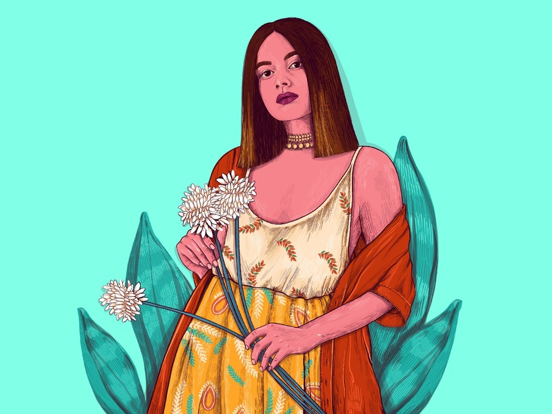 Asian Beauty characterdesign illustration art graphicdesign stylish colorful hatching asian girl indian beauty leaves pop art portrait character graphic graphics illustration