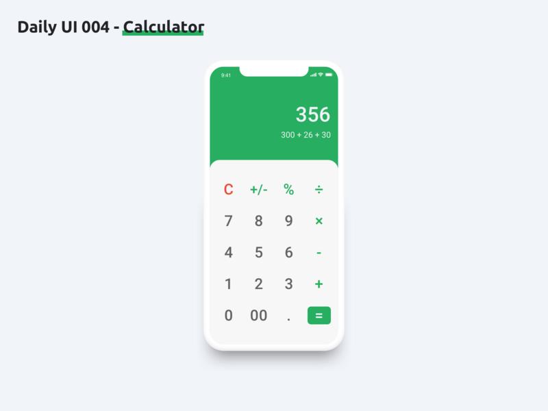 Daily UI 004 - Calculator dailyui004 daily ui calculator ui calculator mobile ui dailyui ux design ux ui design ui sketch