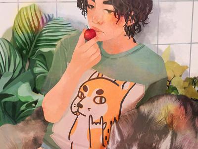 SUMMER NAPS dog plant fashion illustration