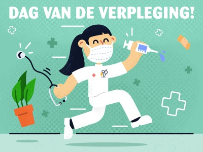 International Nurses Day graphic design design adobe illustrator plant 2d illustrator vaccine running texture illustration nursing nurses care health healthcare hospital verpleging internationalnursesday nurse